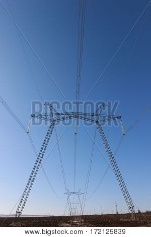 High voltage towers with sky background in Bulgaria