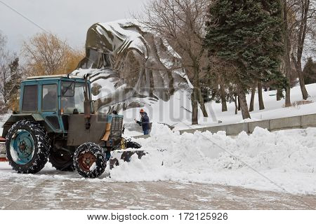 Snow Removal After A Snowfall The Memorial Complex Mamaev Kurgan With A Special Tractor