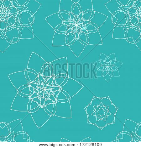 Blue seamless pattern with floral mandala. Sacred geometry. Ethnic bohemian ornament. Indian mandala background. Print for fabric and wrapping paper. Yoga, meditation theme. Vector EPS10 illustration.