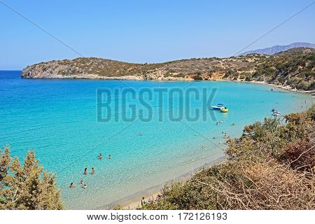 ISTRO, CRETE - SEPTEMBER 18, 2016 - Elevated view of the beach and coastline with mountains to the rear Istro Crete Greece Europe, September 18, 2016.