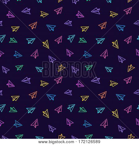 Paper plane seamless pattern colorful line style on purple background. Decoration element use for web site, textile and other. Vector Illustration