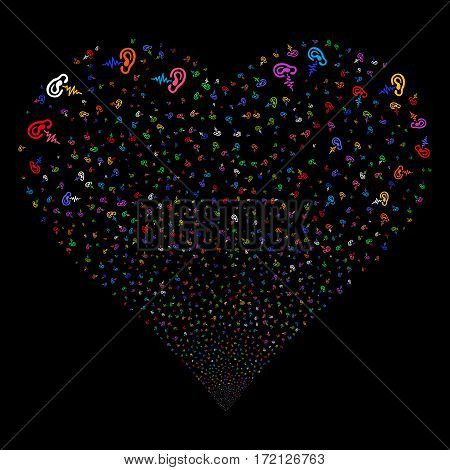 Hearing fireworks with heart shape. Vector illustration style is flat bright multicolored iconic symbols on a black background. Object valentine heart created from random pictograms.