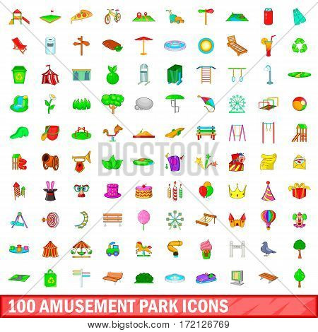 100 amusement park icons set in cartoon style for any design vector illustration