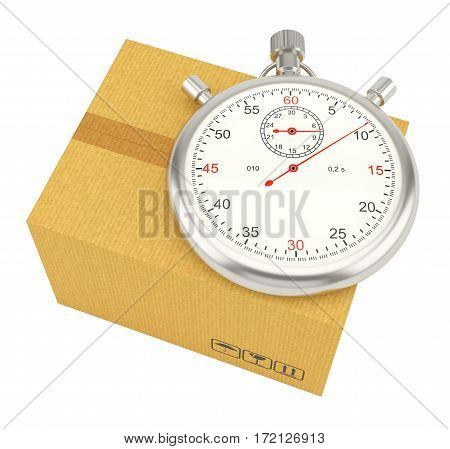 Stopwatch on background of cardboard box. 3D Rendering