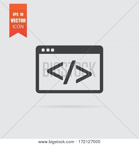 Code Icon In Flat Style Isolated On Grey Background.