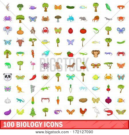 100 biology icons set in cartoon style for any design vector illustration