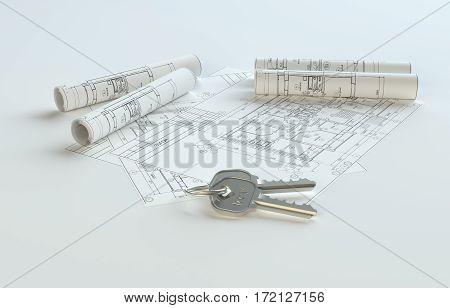 Blueprints with keys, copy space for your content. 3D Illustration