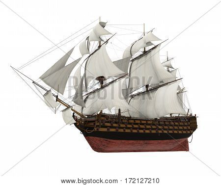 Sail Ship isolated on white background. 3D render