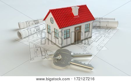 Model of house and key ring on blueprint. Isolated on white. 3D Illustration