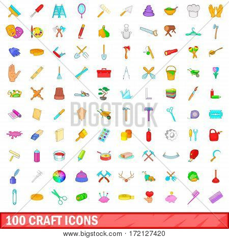 100 craft icons set in cartoon style for any design vector illustration