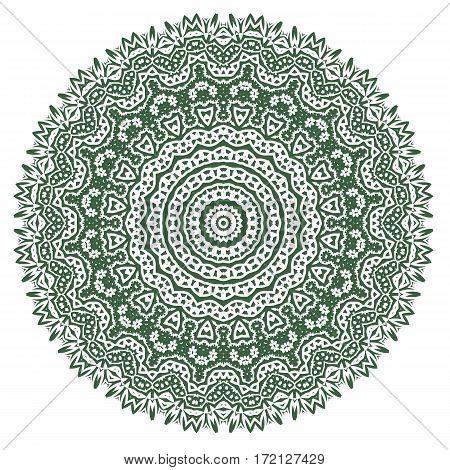 Green Ornamental Line Pattern. Decorative Texture. Oriental Geometric Ornament