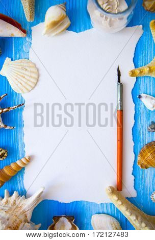 Summer Time Sea Vacation With White Blank And Feather For The Letter, Star Fish And Marine Shell