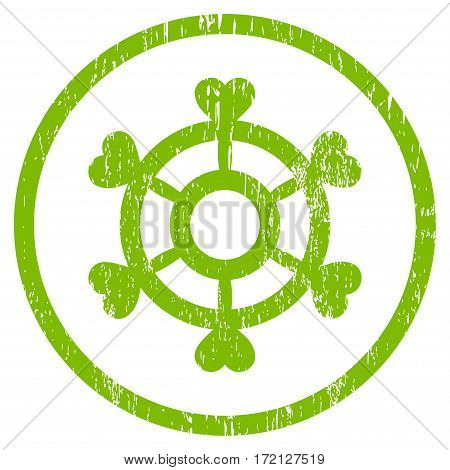 Lovely Boat Steering Wheel grainy textured icon for overlay watermark stamps. Rounded flat vector symbol with dust texture.