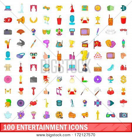 100 entertainment icons set in cartoon style for any design vector illustration