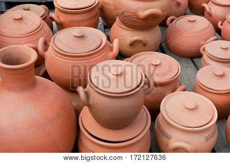 Earthenware on the market. the Republic of Georgia. The Caucasus