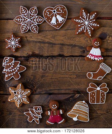 Christmas Composition. Xmas Cookies, Gingerbread Man, Tangerines, Cinnamon, Festive Decoration, Fir