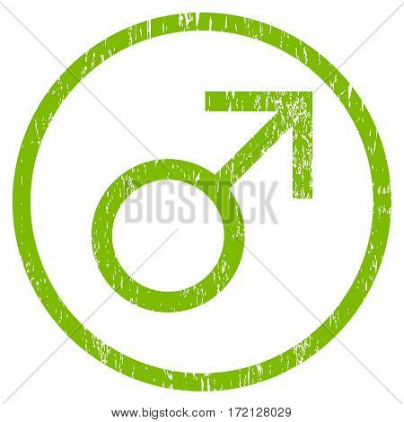 Mars Male Symbol grainy textured icon for overlay watermark stamps. Rounded flat vector symbol with dust texture. Circled light green ink rubber seal stamp with grunge design on a white background.