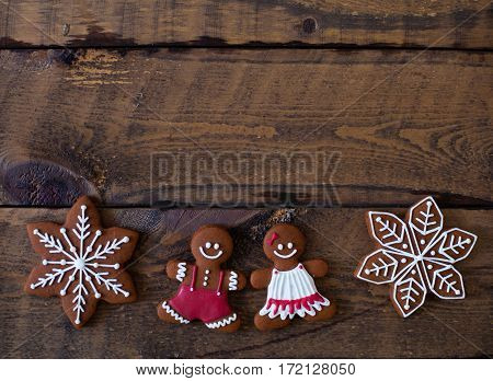 Christmas Composition. Xmas Cookies, Gingerbread Man, Tangerines, Cinnamon, Festive Decoration, Fir