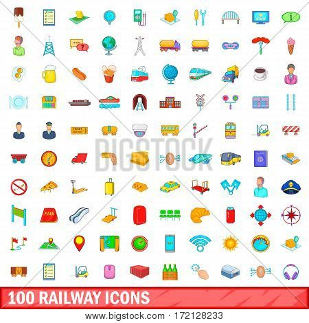 100 railway icons set in cartoon style for any design vector illustration