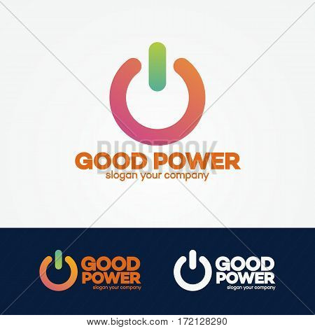 Power logo set modern colorful style design template perfect for your branding identity. Energy switch logo. Vector Illustration