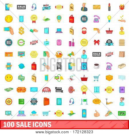 100 sale, icons set in cartoon style for any design vector illustration