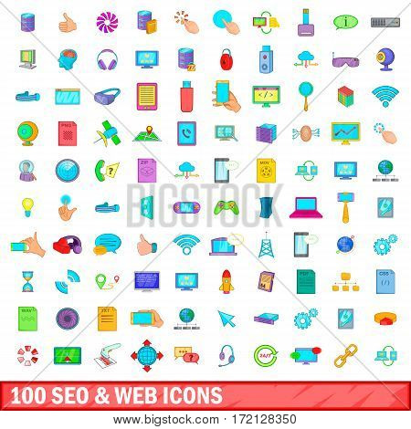 100 seo and web business icons set in cartoon style for any design vector illustration