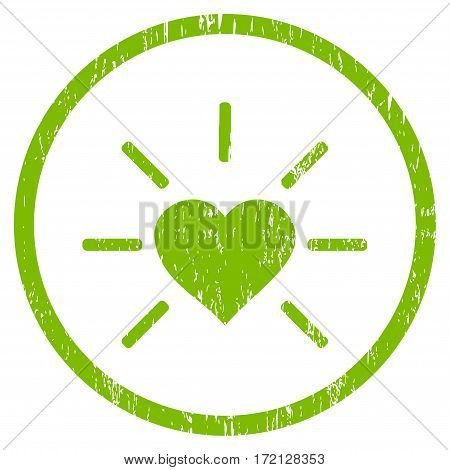 Shiny Love Heart grainy textured icon for overlay watermark stamps. Rounded flat vector symbol with unclean texture. Circled light green ink rubber seal stamp with grunge design on a white background.