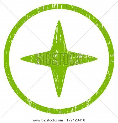 Sparkle Star grainy textured icon for overlay watermark stamps. Rounded flat vector symbol with dust texture. Circled light green ink rubber seal stamp with grunge design on a white background.