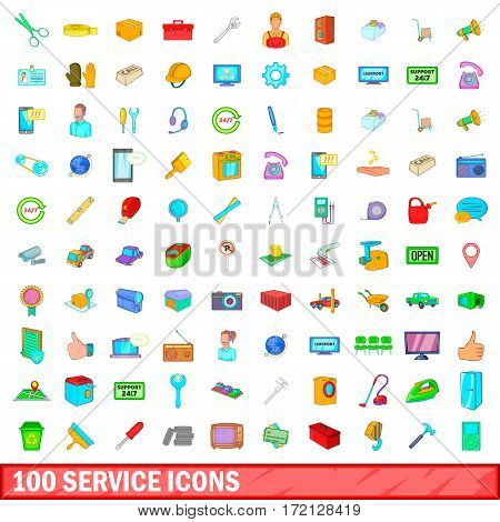 100 service icons set in cartoon style for any design vector illustration