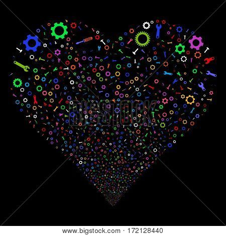 Setup Tools fireworks with heart shape. Vector illustration style is flat bright multicolored iconic symbols on a black background. Object stream created from random pictographs.