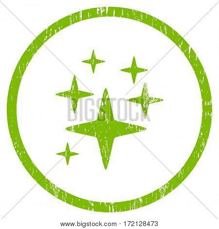 Sparkle Stars grainy textured icon for overlay watermark stamps. Rounded flat vector symbol with scratched texture. Circled light green ink rubber seal stamp with grunge design on a white background.