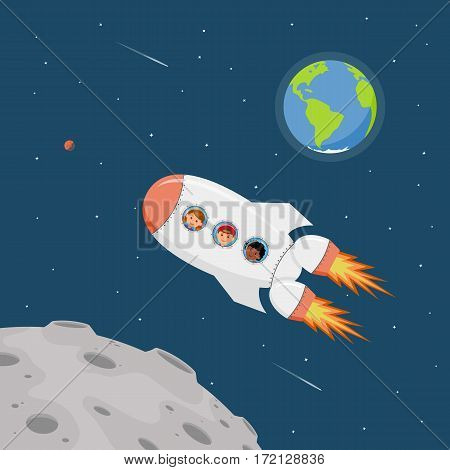 Travel on a space ship. Astronauts children in outer space. Cartoon background childrens dreams of becoming astronauts and flying on space ship. Vector illustration in flat style.