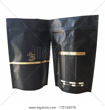 Black and Gold Kraft Paper Bags. Blank Side Gusset Foil Coffee Bags With Degassing Valve Isolated on White Background. Packaging template mockup collection. Clipping Path. Aluminium coffee package. PBi Block Bottom Bags