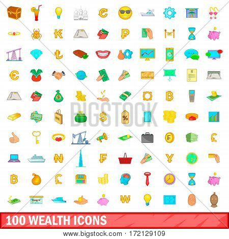 100 wealth icons set in cartoon style for any design vector illustration