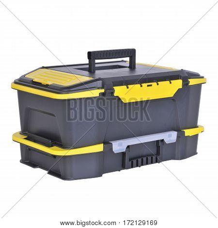 Black Plastic Tool Box. Mechanics Tool Set. Mechanic's Toolbox Isolated On White Background. Plastic