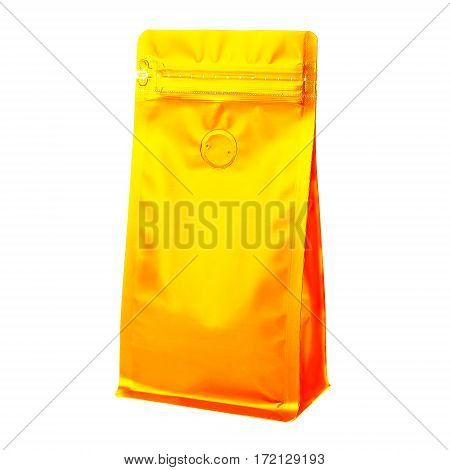 Blank Side Gusset Gold Foil Coffee Bags With Degassing Valve Isolated on White Background. Packaging template mockup collection. Clipping Path. Golden Package