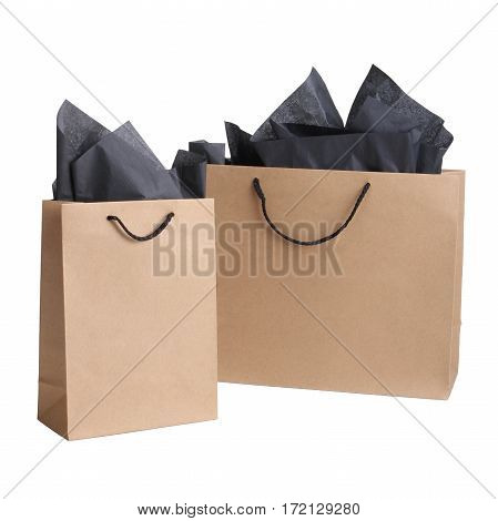 Brown Paper Bags Isolated On White Background. Blank Grocery Paper Bag. None Printing. Clipping Path
