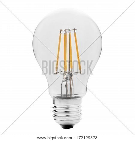 Filament Led Bulb Isolated On White Background. Led Lightbulb. Led Light. Clipping Path