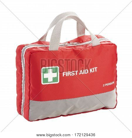 First Aid Big Red Bag Isolated On White Background. Medical Kit