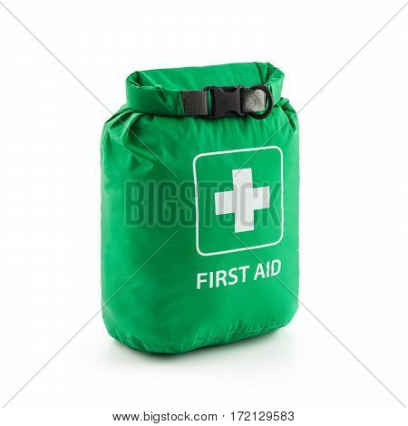 First Aid Green Watertight Bag Isolated On White Background. Medical Kit