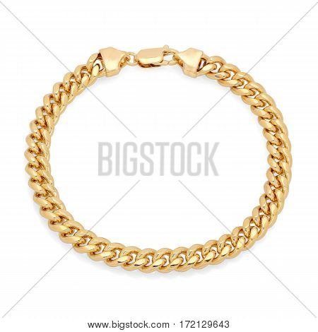 Gold Chain Isolated On White Background. Gold Bracelet. Gold Chain Bangle. Gold Bracelet Isolated On