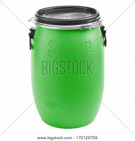 Green Plastic Barrel Isolated On White Background. Storage Drum