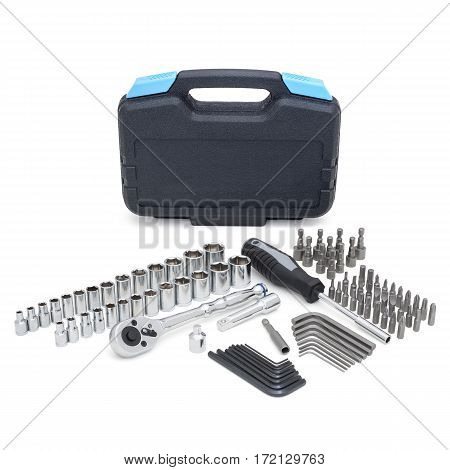 Mechanics Tool Set And Mechanic's Tool Box Isolated On White Background. Mechanics Tool Kit. Tool Bo