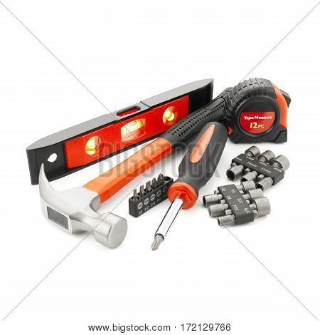 Mechanic's Tool Set Isolated On White Background. Claw Fiberglass Handle Hammer. Retracting Tape Mea