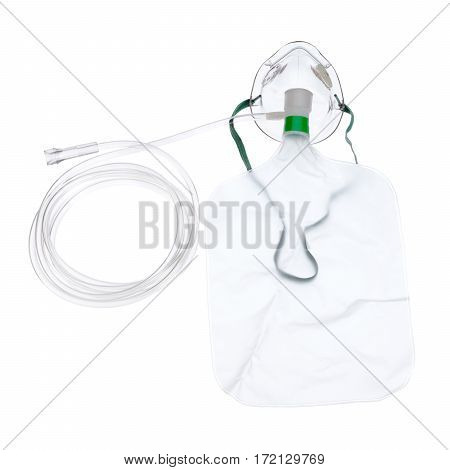Medical Nebulizer Oxygen Mask Isolated On White Background. Medical Face Airway Mask