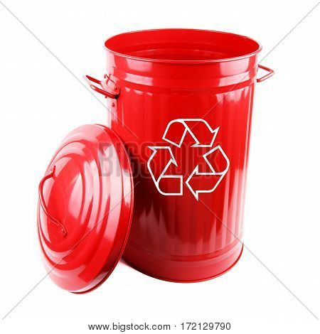 Metal Red Recycle Bin Isolated on White Background