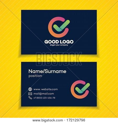 Business card with ok logo in circle template modern green color isolated on white background for used corporate identity your business company. Yes logo. Vector Illustration