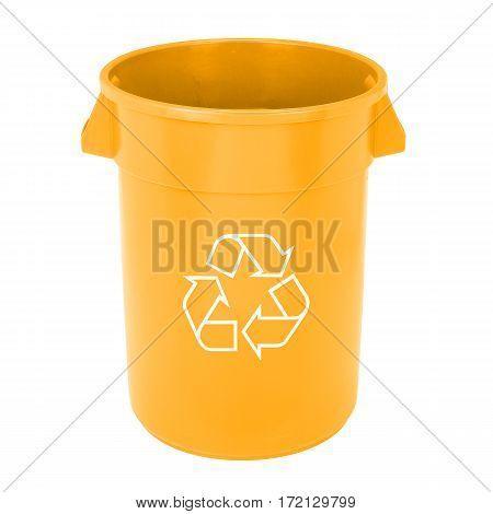 Orange Recycle Bin Isolated On White Background
