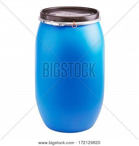 Plastic Storage Drum. Big Blue Barrel Isolated on White Background