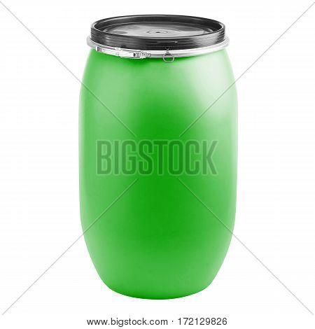 Plastic Storage Drum. Big Green Barrel Isolated On White Background